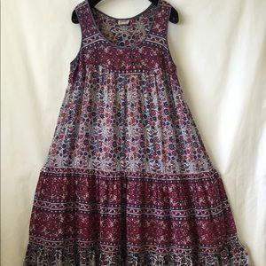 Vintage Kaiser Rare Indian Cotton Gauze Red Dress